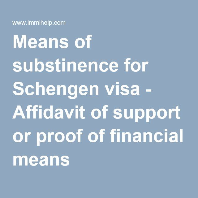 Means Of Substinence For Schengen Visa  Affidavit Of Support Or