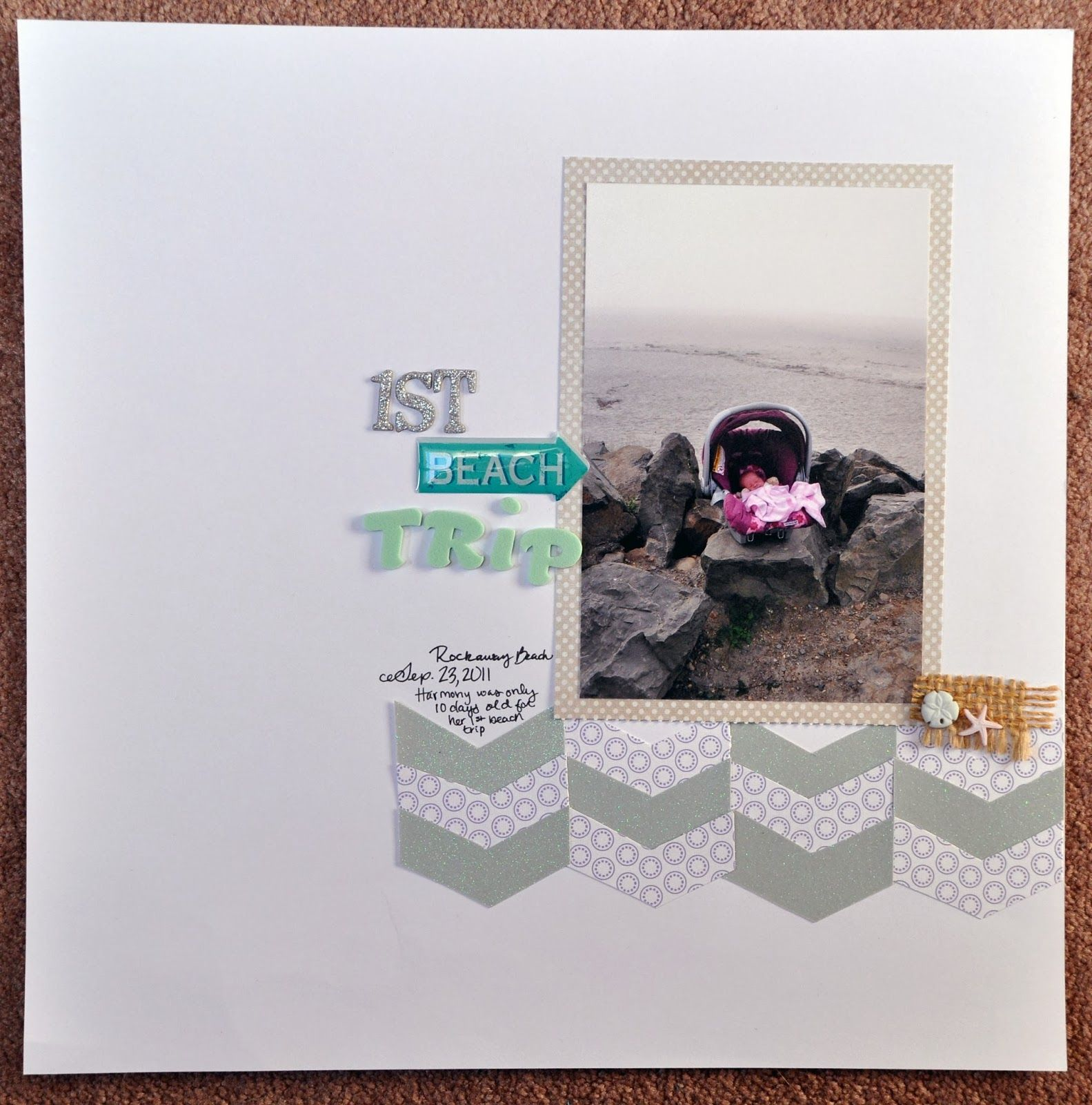 Scrapbook ideas for baby girl - 1st Beach Trip Baby Girl Ocean Coast Scrapbooking Layout Scrapbook Page Idea