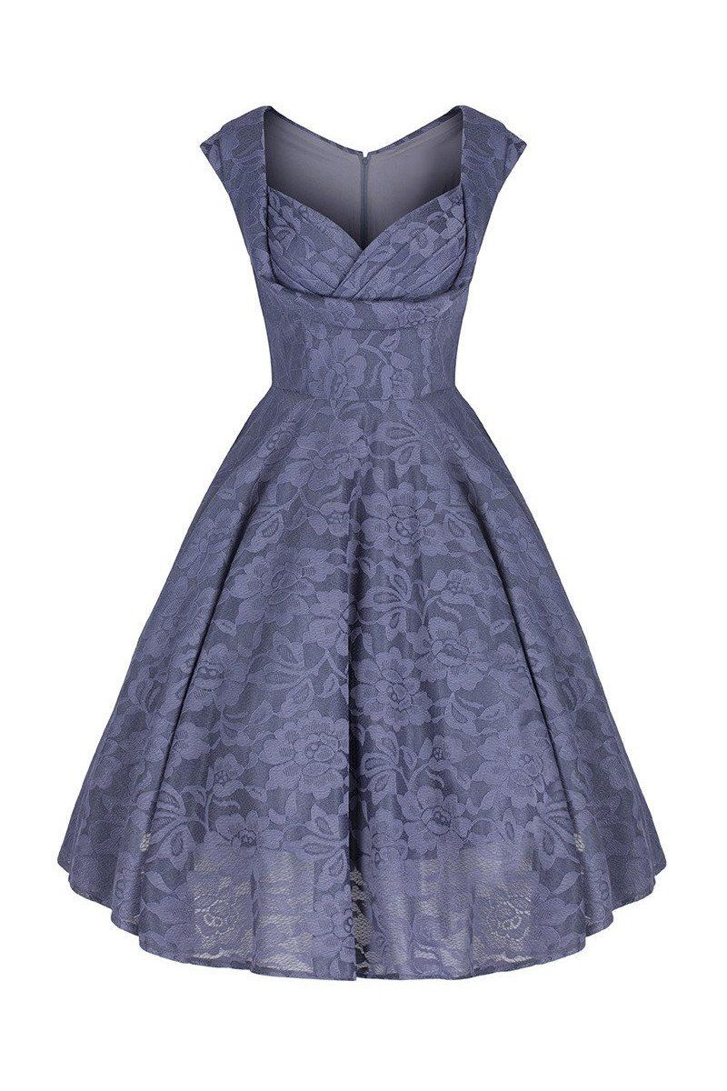 Grey lace embroidered swing dress