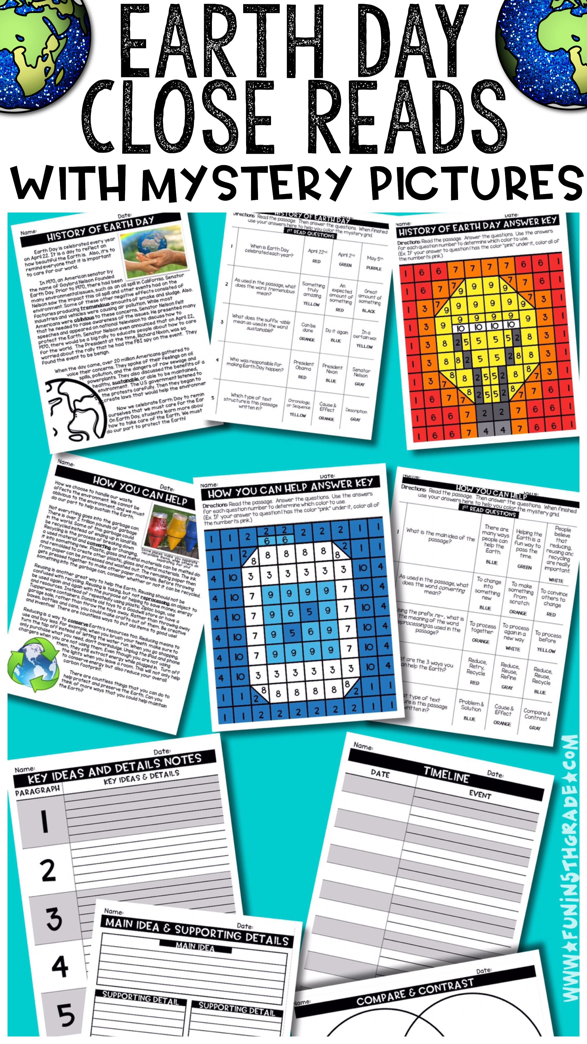 Earth Day Close Reads w/ Mystery Picture Activity for Grades 3-6 ...