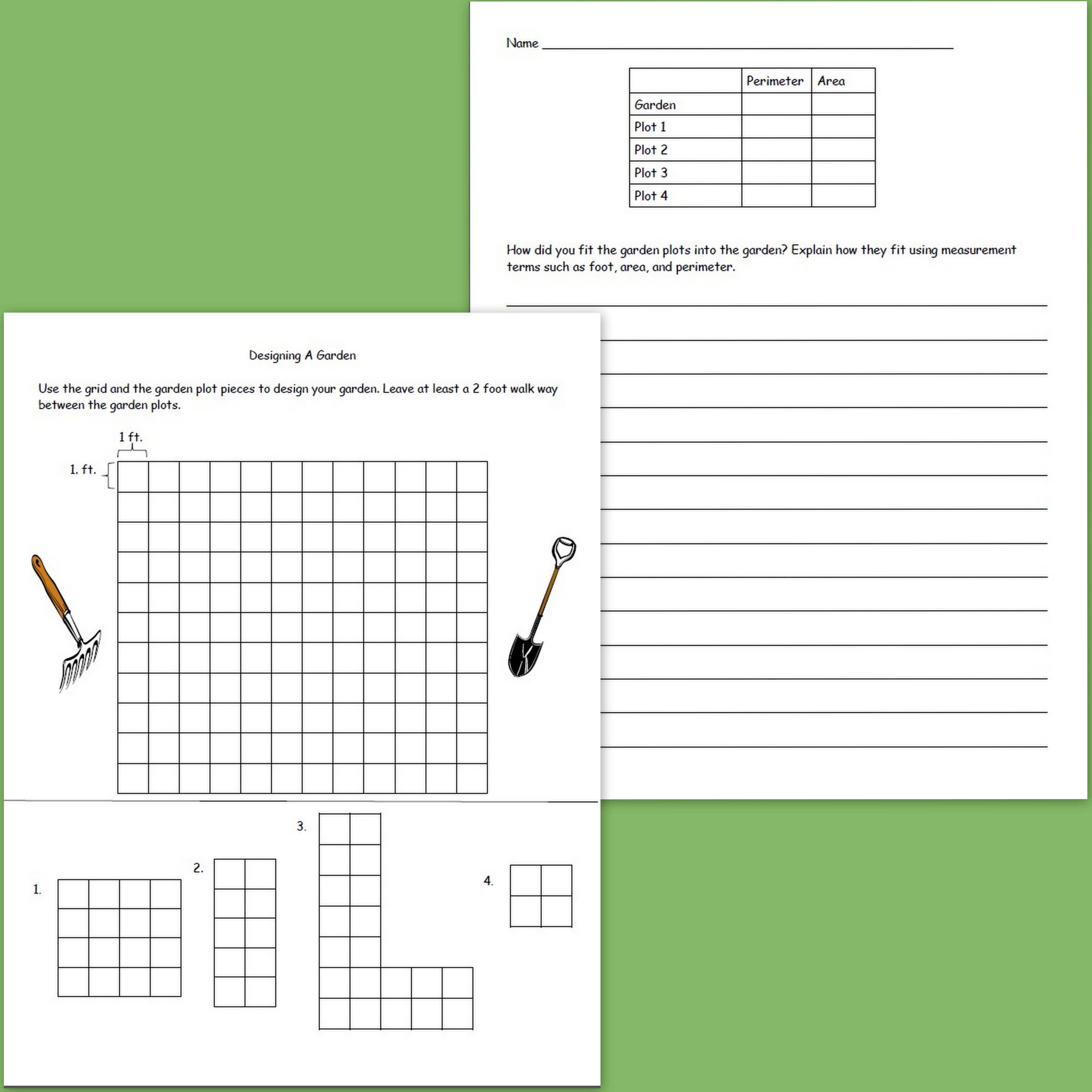 Freebie For Practicing Area And Perimeter While Designing A Garden Great For Spring And Summer