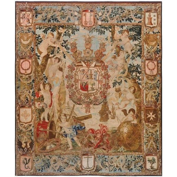 Antique Flemish Heraldic Tapestry (901.340 BRL) via Polyvore ...