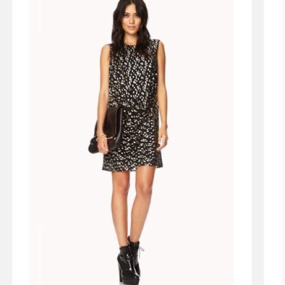 Love 21 Black Soiree Metallic Dot Dress SZ M NWOT Love 21 Black Soiree Metallic Dot Dress SZ M this is a Great dress with gold metallic dots Forever 21 Dresses