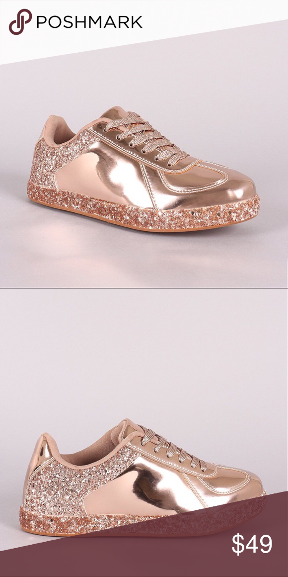 06f34f0b876 Womens Sneaker Glitter Rose Gold Patent Leather New! Lace Up Patent Leather  Sneakers