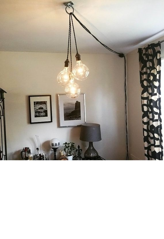 Unique Chandelier PLUG IN Modern Hanging Pendant Lamp Industrial ...