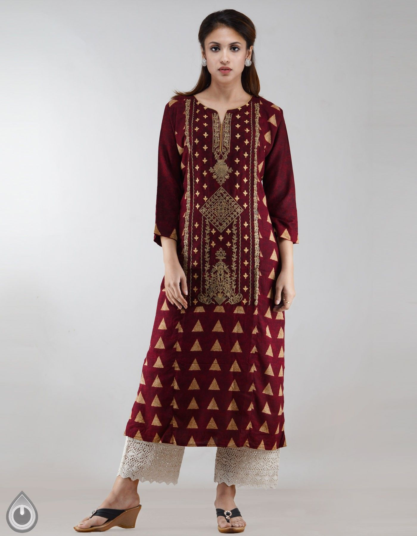 d6ac8823c3 Maroon Pure Rayon Cotton A-Line Kurta,It has cream floral embroidery work  with boat neck and 3/4th sleeves,Product Color:Maroon,Craft Type:  Embroidery Work ...