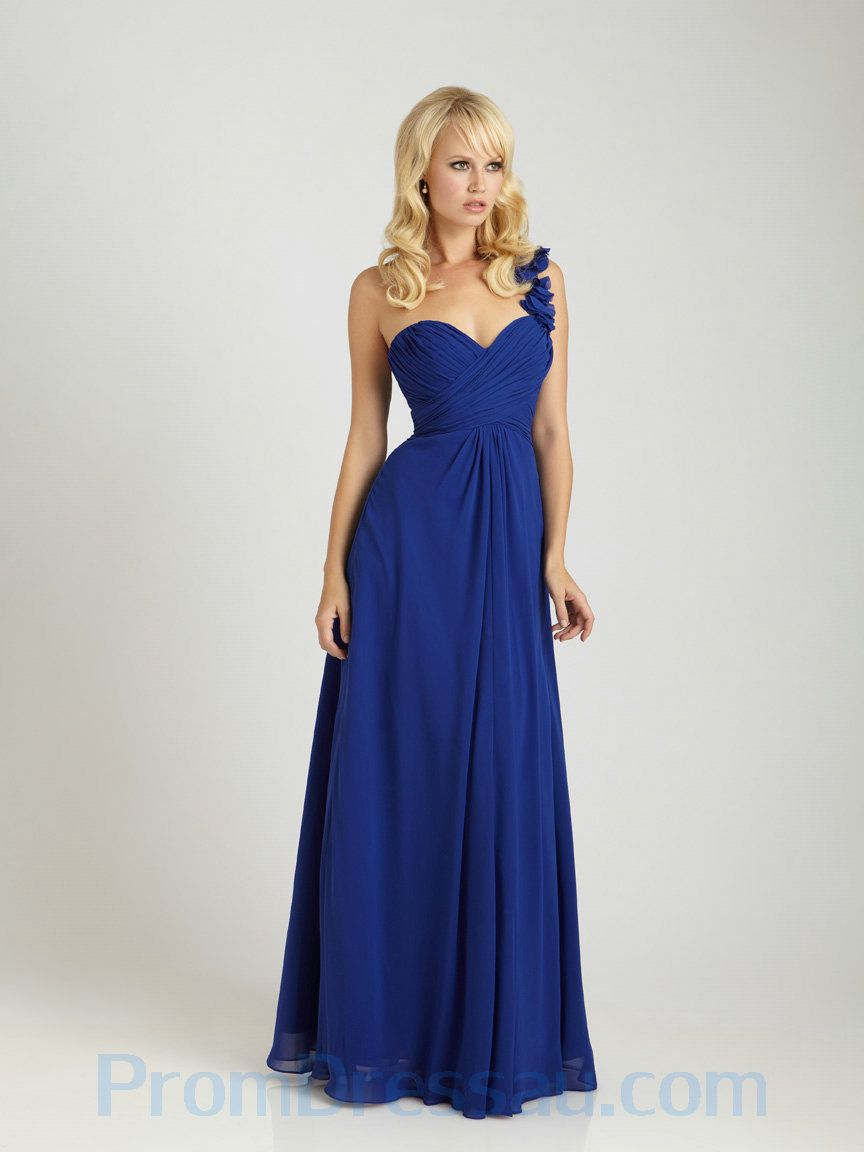 Amazing bridesmaids dresses one shoulder chiffon royal blue buy tailor made ruched one shoulder chiffon royal blue amazing bridesmaid dress hot selling ombrellifo Image collections