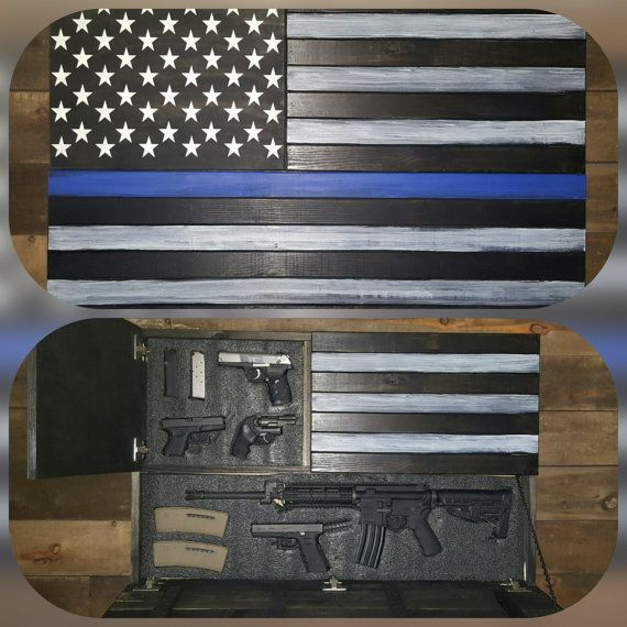 Large Thin Blue Line Concealed Weapon Flag Cabinet In 2019 Thin
