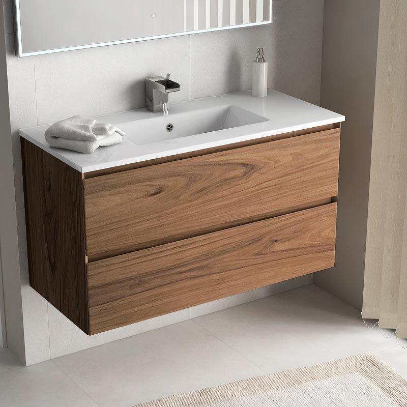 Cordoue, Meuble salle de bain bois noyer 101 cm, vasque céramique