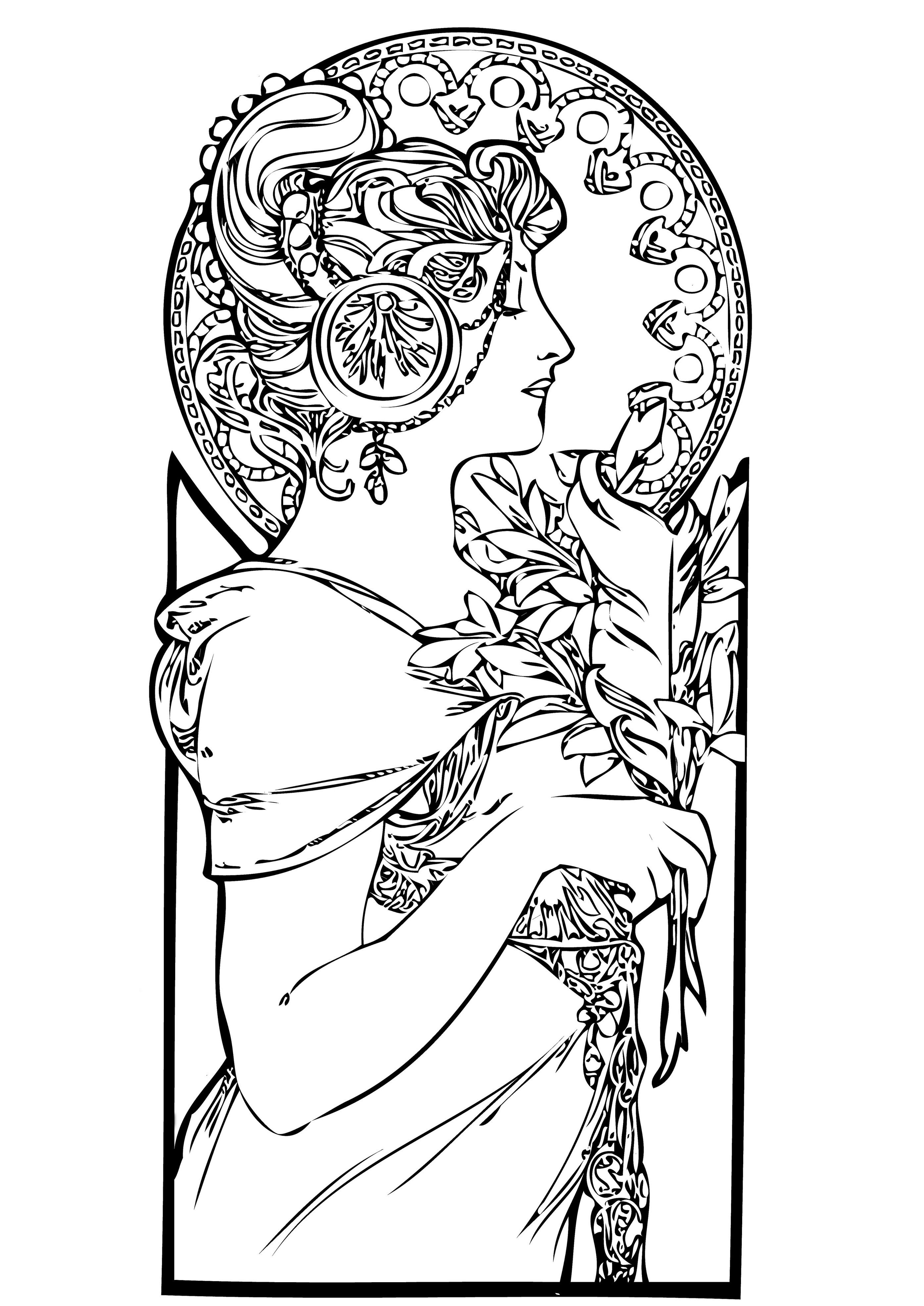 Free coloring page coloring adult femme art nouveau A beautiful