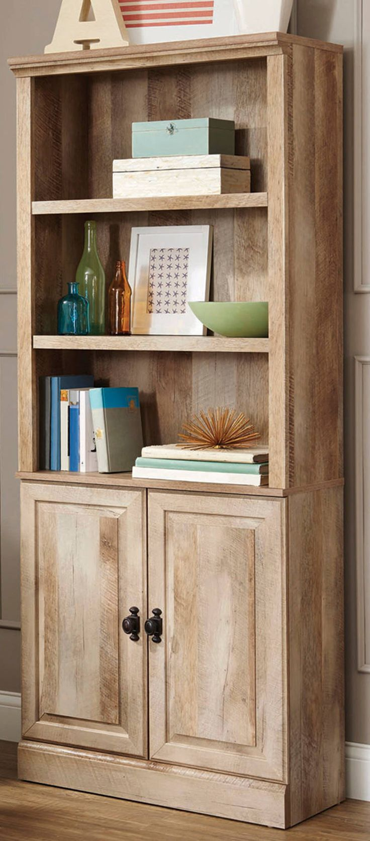 better homes and gardens crossmill bookcase with doors, multiple