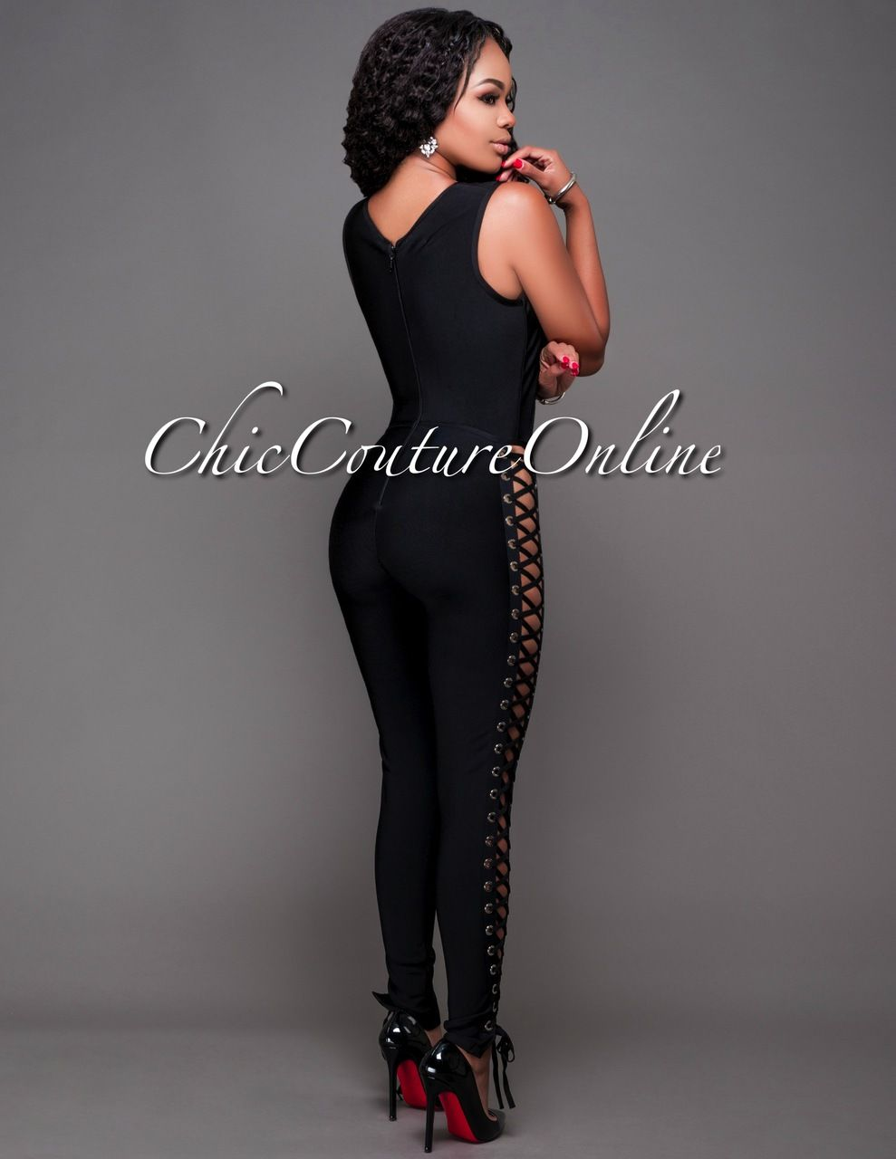 67a0f2118cc Lucca Black Lace-Up Sides Bandage Jumpsuit in 2019