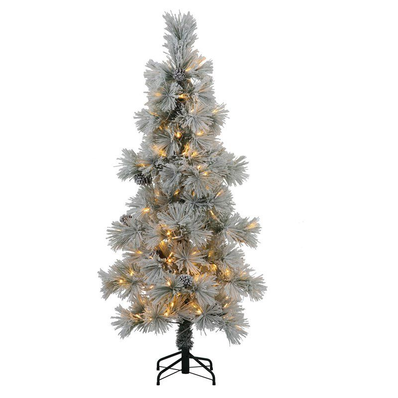 Vickerman Flocked Stone Pre-lit Christmas Tree - N132581