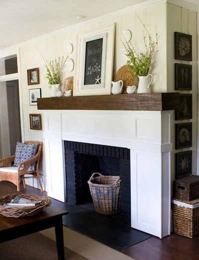 chemin e en briques peinte en noir d co foyer maison et chemin e bois. Black Bedroom Furniture Sets. Home Design Ideas