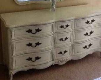 French provincial Country French Shabby Chic Vintage Off White ...