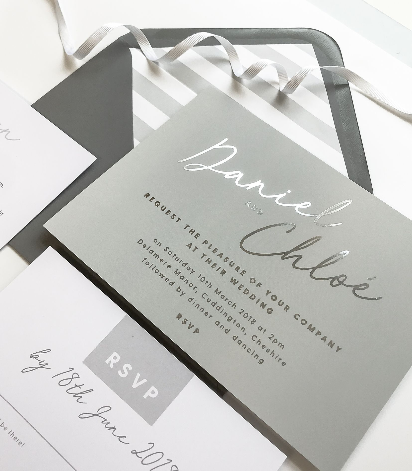 Rachel grey and silver foil wedding invitations #weddinginvitation ...