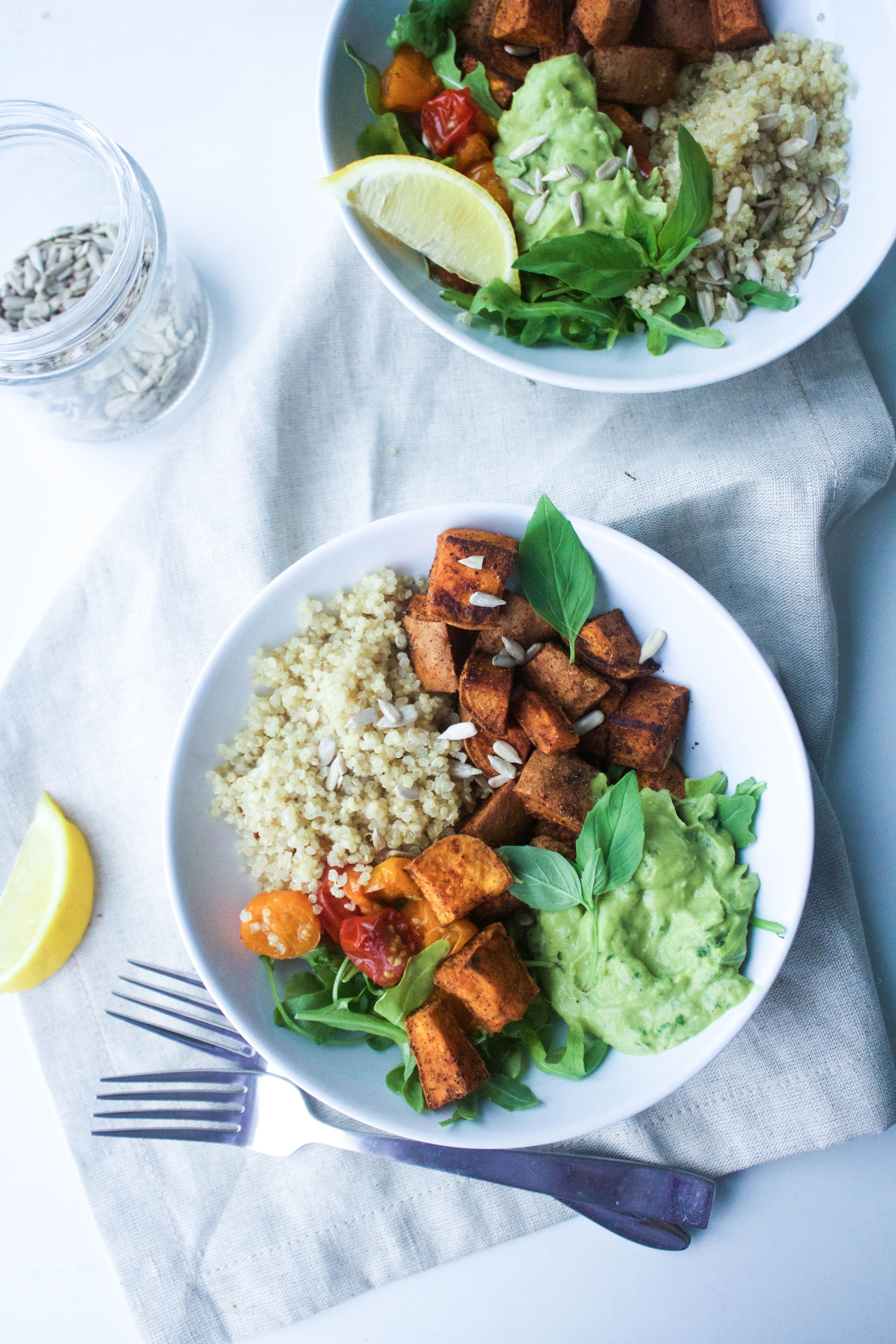 Southwestern Sweet Potato Bowl With Avocado Pesto