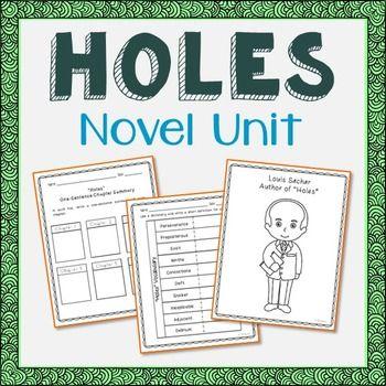 Holes Novel Unit Study Activities, Book Companion Worksheets ...
