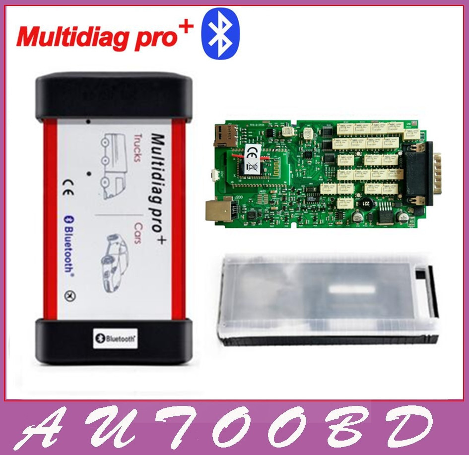 82.00$  Buy here - http://alivcm.worldwells.pw/go.php?t=1099414421 - Best TCS CDP Multidiag Pro+Bluetooth with Single Green Board PCB chip+Plastic Box for Cars Trucks OBD2 Scanner diagnostic tool 82.00$