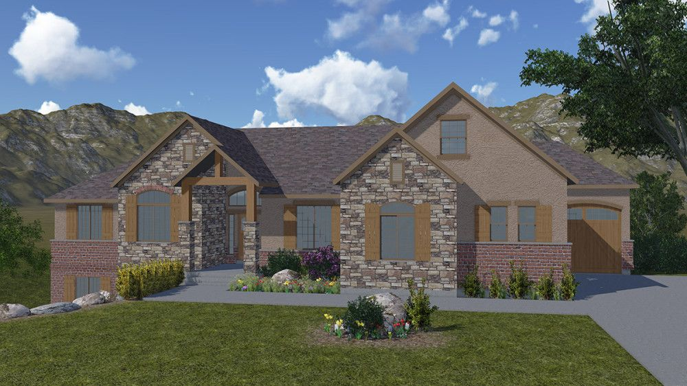 E Style Home Design Part - 39: Elk Ridge - A Mountain Rustic Style Rambler House Plan - Walker Home Design
