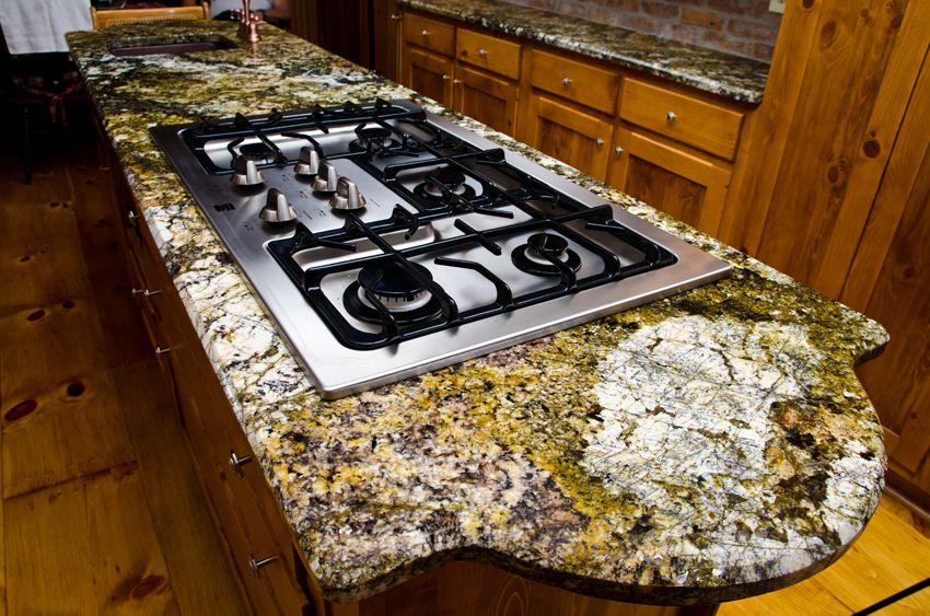 Carnival Granite With Roman Radius Kitchen Island Design