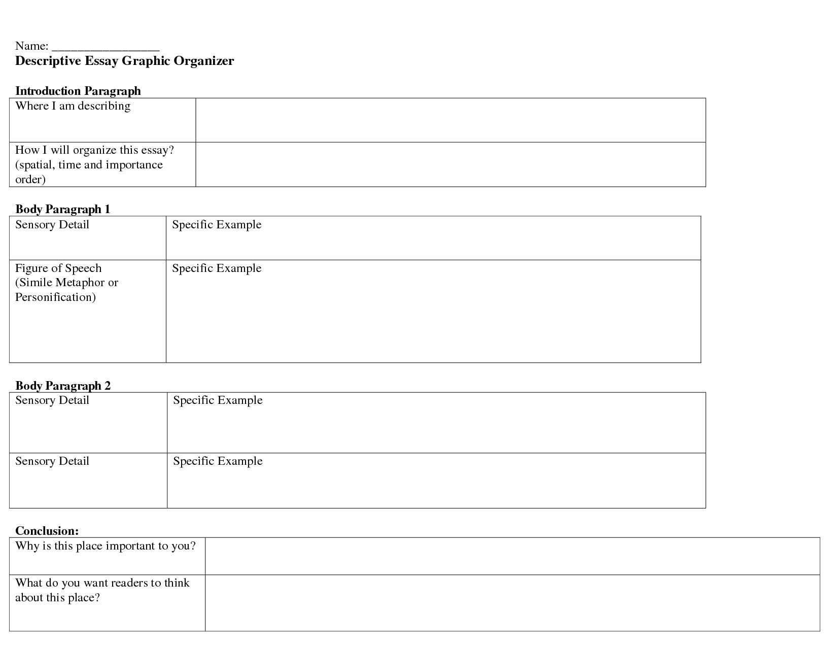 Descriptive Essay Graphic Organizer