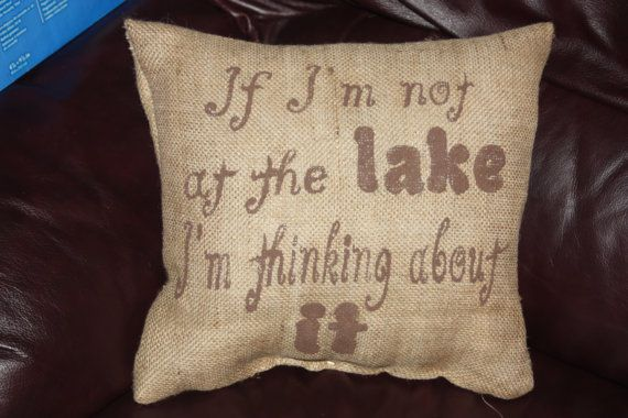 burlap pillow lake house pillow.13x14 by lulaludy on Etsy, $25.00