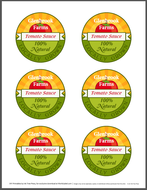 Tomato Canning Jar Labels By Ink Tree Press Are In Fillable Printable Label Templates For Free And Personalize With Your Own Information