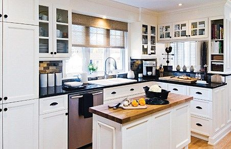 am nagement cuisine noir blanc bois kitchens. Black Bedroom Furniture Sets. Home Design Ideas