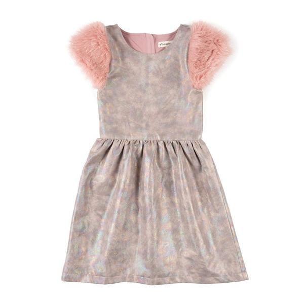 62ff088521ae Fleur  Short Sleeve Dress in Holographic Rose Quartz in 2018