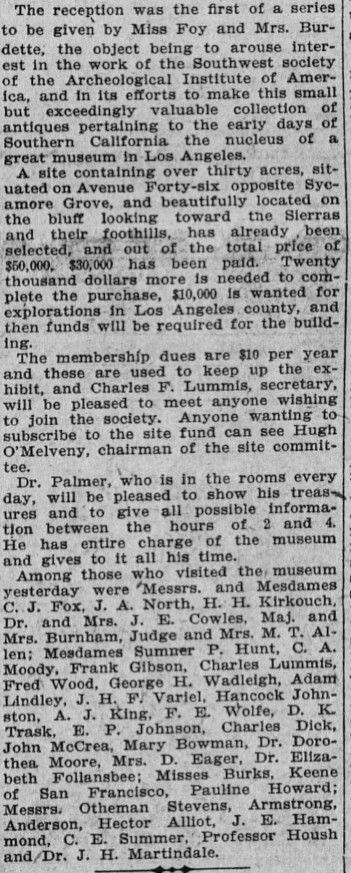 1907 Announcement of land purchase for the SOuthwest Museum. Sumner hunt in attendance at earlier museum sire reception to interest prominent citizens in building the museum.