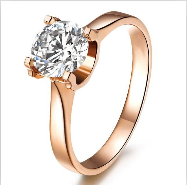 2014 1ct Rose Gold Brand New Synthetic Diamond Ring For Women