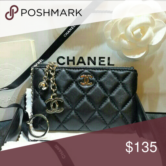 c36f98c4745dc1 Chanel Lambskin Leather Key Chain Coin Card Wallet PRICE FIRM NO OFFER NEW  Chanel VIP card