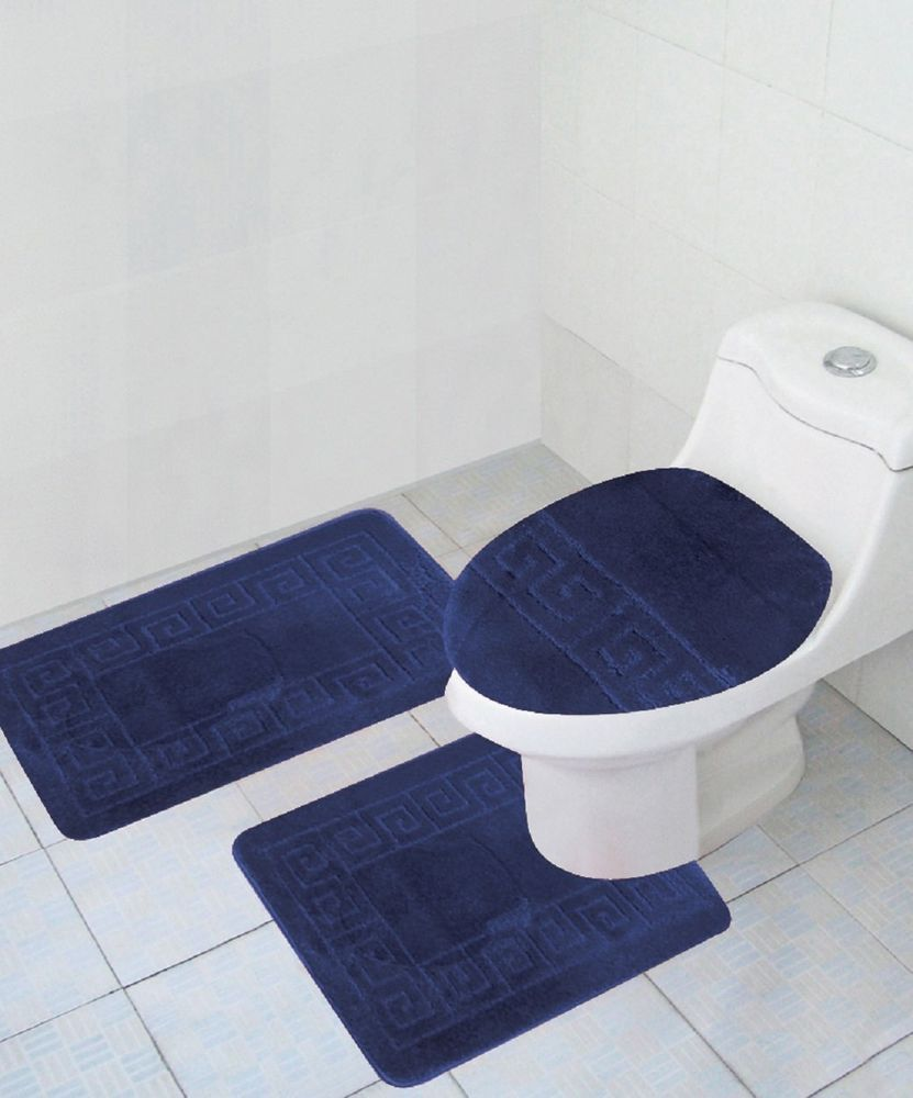 3 Piece Bathroom Set Navy Blue Rug Contour Mat Lid Cover Free ...