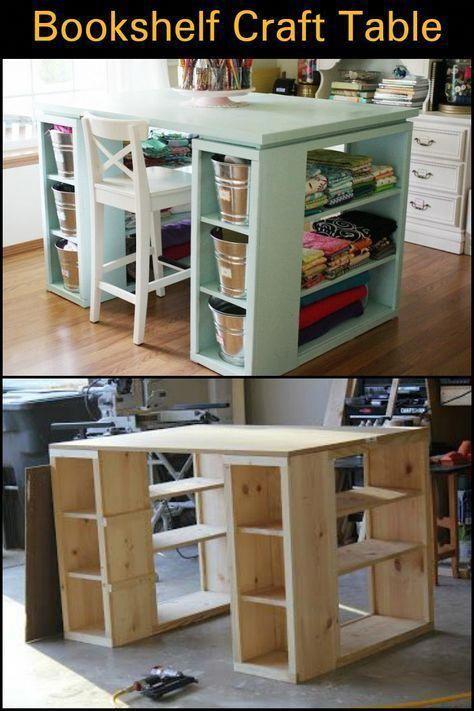 How To Build A Craft Table From Bookshelves Homeofficefurnitureideascrafttables Bookshelves Diy Craft Tables With Storage Craft Room Tables