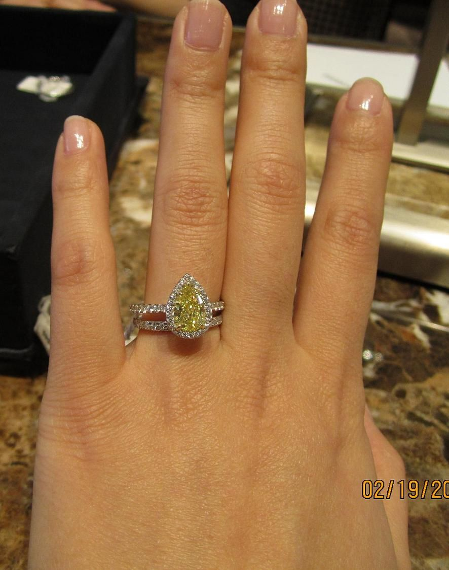 63c01608c ... this woman has small hands, so this ring would look too small on my  long fingers. It's also VERY yellow. ------ Tiffany Yellow Diamond  Engagement Ring -