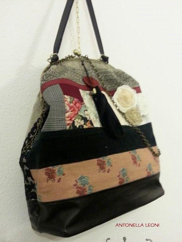 61f3e74724 Borsa patchwork (lana,nappa,velluto a coste, cotone stampato, passamaneria,