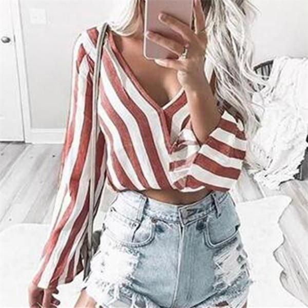 Fashion Casual V Neck Striped Shirt