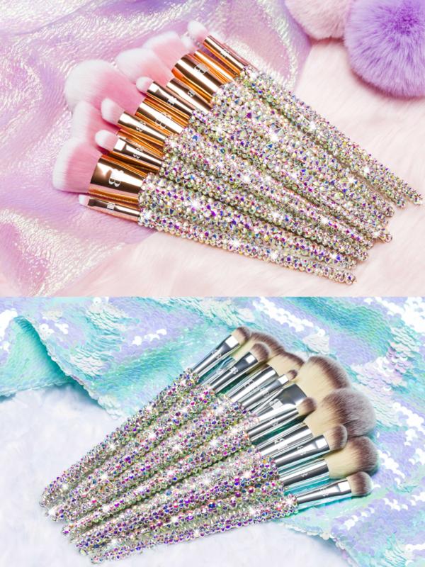 silver and rose gold blinged brushes blingedbrushes bling