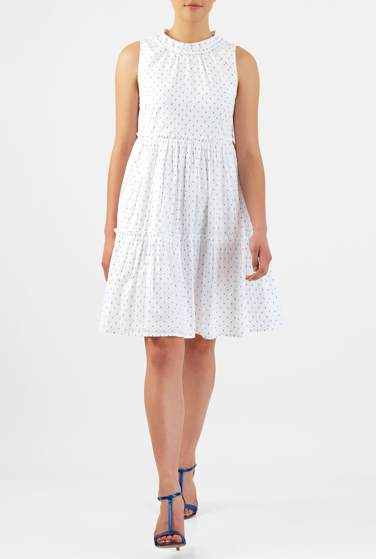 14112679e9a Our swiss dot cotton trapeze dress in ruched pleat tiers and picot ruffle  trim is everything your summer wardrobe needs.