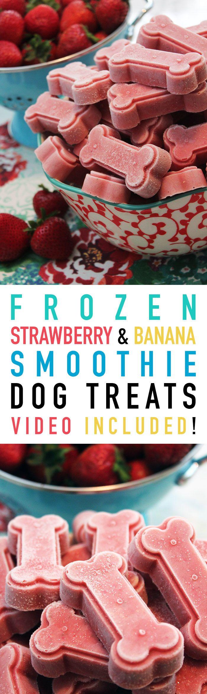 Strawberry Banana Smoothie Frozen Dog Treats | The