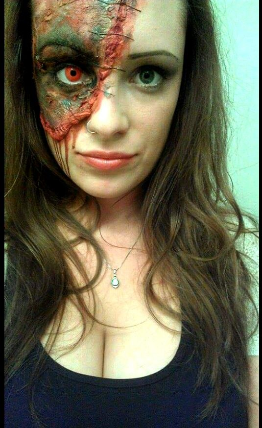 Txharv08 me last halloween 2014 zombie halloween costume diy zombie halloween costume diy do it yourself halloween make up with red contact zombie face no tutorial just inspiration solutioingenieria Choice Image