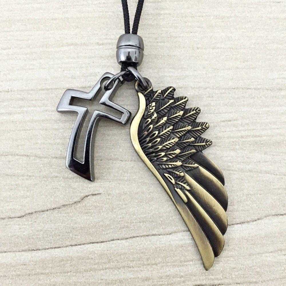 5c06b21cc Colar Masculino Pingente Asa Cruz Crucifixo