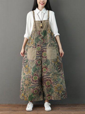 Print Straps Pockets Loose Vintage Jumpsuit for Women #shoewedges