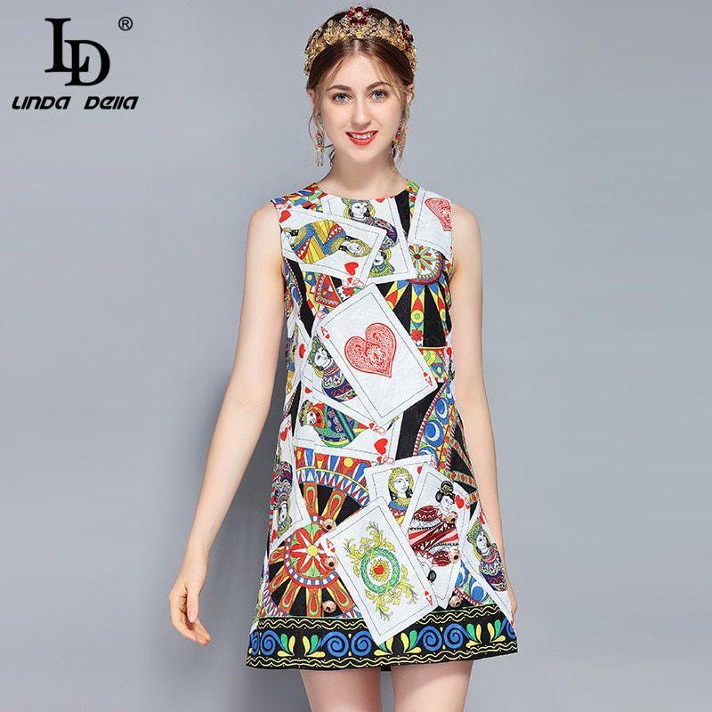d08b4716fc Sleeveless Vest Luxury Button Poker Printed Vintage Dress vestido Work  Fashion