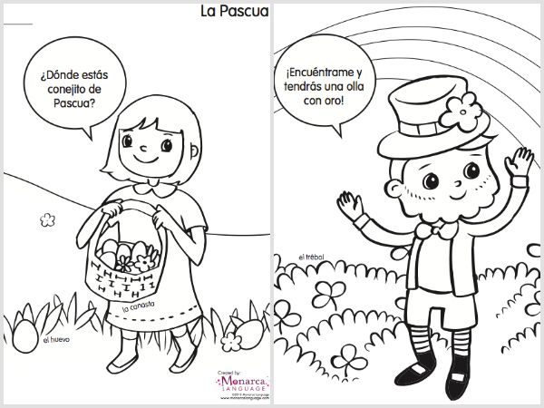 spring coloring pages in spanish printable bilingual activities. Black Bedroom Furniture Sets. Home Design Ideas