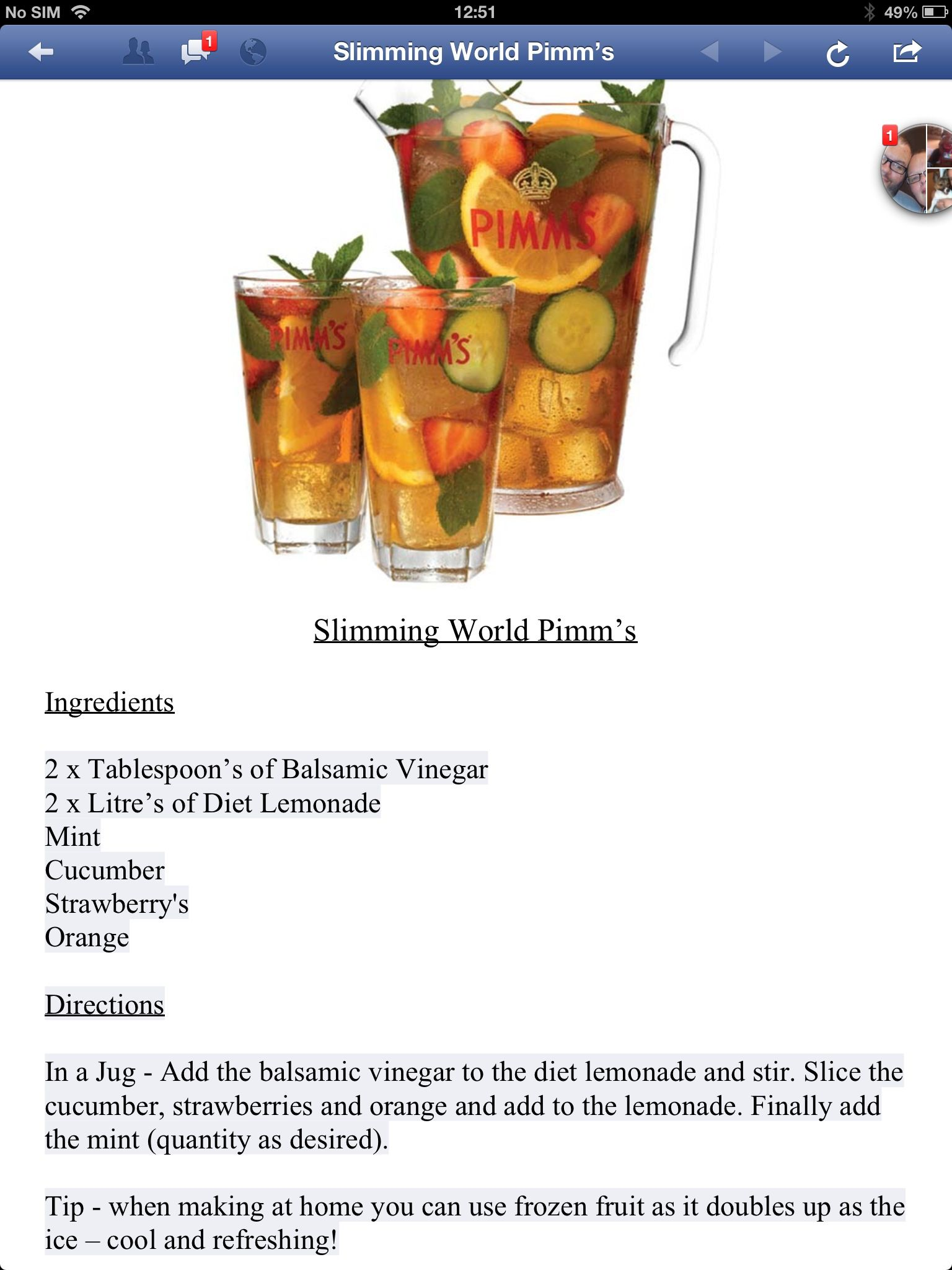 Syn Free Pimms Slimming World Pinterest
