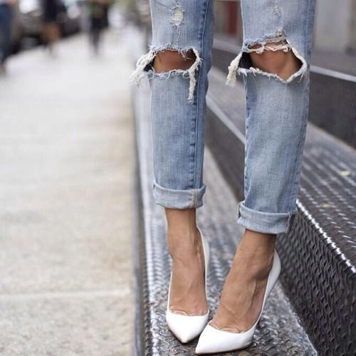 Ripped Jeans. White Heels.