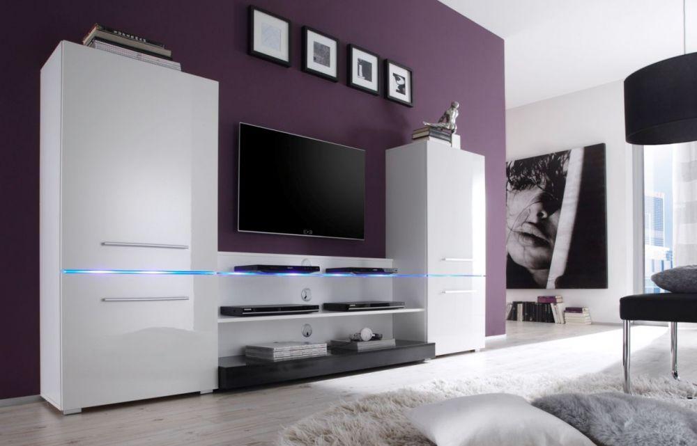 fabia wohnwand weiß hg/schwarz | einrichtungsideen | pinterest