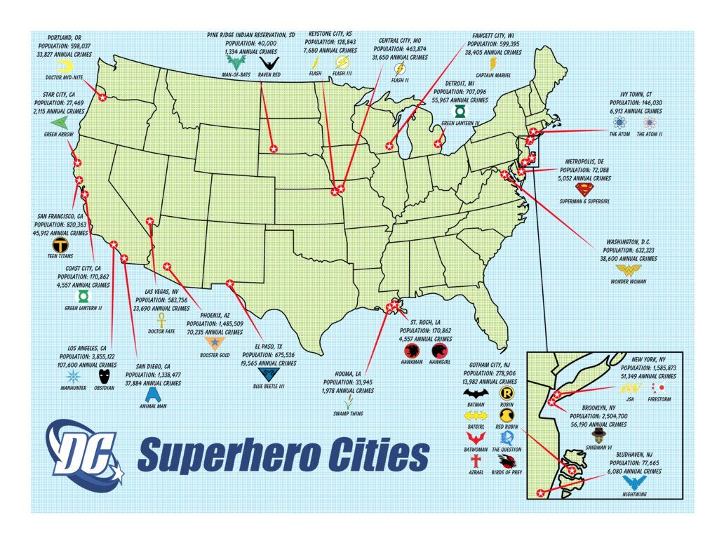 Map Of Dc America Dc Comics Comic Vine Marvel Comics